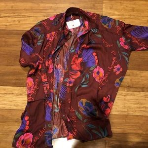 Free people shirt dress / tunic hi low floral silk